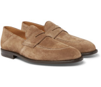 Samuel Collapsible-heel Suede Penny Loafers