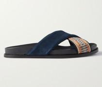 David Suede and Webbing Sandals