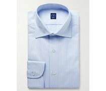 Cutaway-Collar Striped Cotton Oxford Shirt