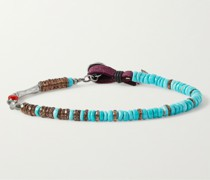 Bijoux Sterling Silver and Leather Multi-Stone Beaded Bracelet