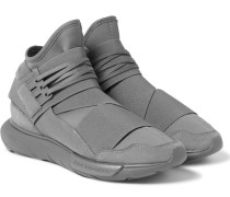 Qasa Suede-trimmed Neoprene High-top Sneakers