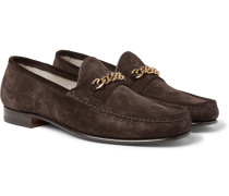 Chain-trimmed Suede Loafers