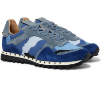 Valentino Garavani Rockstud Suede And Camouflage-print Shell Sneakers - Royal blue