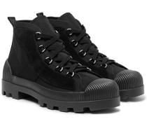 Daniel Suede-panelled Canvas Boots