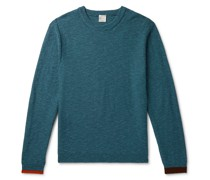 Slim-Fit Contrast-Tipped Cotton and Virgin Wool-Blend Sweater