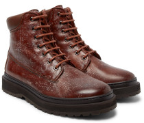 Shearling-lined Distressed Leather Boots