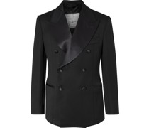Tonino Slim-Fit Satin-Trimmed Double-Breasted Wool Tuxedo Jacket