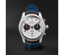 Jaguar MKII Automatic Chronograph 43mm Stainless Steel and Leather Watch, Ref. No. J-MKII-WH-R-S