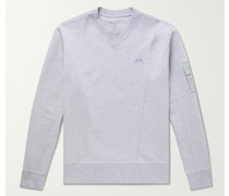 Logo-Embroidered Mélange Stretch-Cotton Jersey Sweatshirt