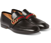 Webbing-trimmed Leather Loafers