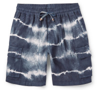 Tie-Dyed Linen Drawstring Shorts