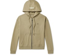 Oversized Distressed Cotton-Blend Jersey Zip-Up Hoodie