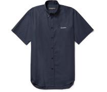 Embroidered Button-down Collar Cotton-poplin Shirt