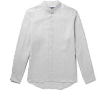 + Johannes Huebl Grandad-Collar Linen Shirt