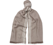 Fringed Striped Cashmere And Silk-blend Scarf
