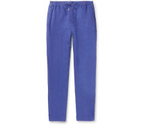 Tapered Linen Drawstring Trousers