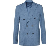 + Johannes Huebl Unstructured Double-Breasted Linen Blazer