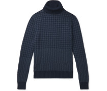 Houndstooth Cashmere Rollneck Sweater