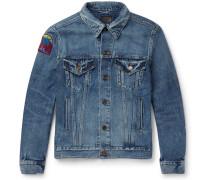 Appliquéd Distressed Denim Jacket