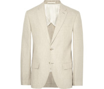 Beige Grant Slim-fit Puppytooth Linen Suit Jacket