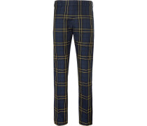 Navy Jack Slim-fit Prince Of Wales Checked Cotton-twill Trousers