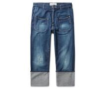 Cuffed Distressed Denim Jeans