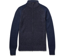 Ribbed Mélange Cashmere Coarsehair Zip-up Cardigan
