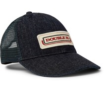 Appliquéd Denim and Mesh Trucker Hat