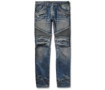 Slim-fit Distressed Denim Biker Jeans