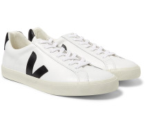 Esplar Rubber-Trimmed Leather Sneakers