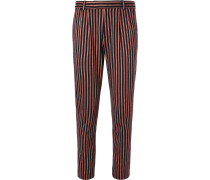 Slim-fit Striped Wool And Cotton-blend Suit Trousers