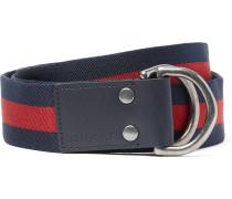 4cm Leather-trimmed Striped Webbing Belt
