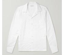 Convertible-Collar Embroidered Cotton-Poplin Shirt