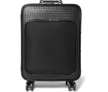 Intrecciato Leather And Canvas Suitcase