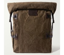 Leather and Webbing-Trimmed Cotton-Canvas Backpack