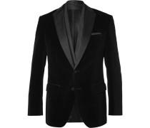 Black Havit Slim-fit Satin-trimmed Velvet Blazer