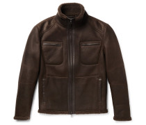 Leather-trimmed Nubuck Shearling Jacket