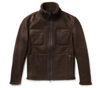 Leather-trimmed Nubuck Shearling Jacket