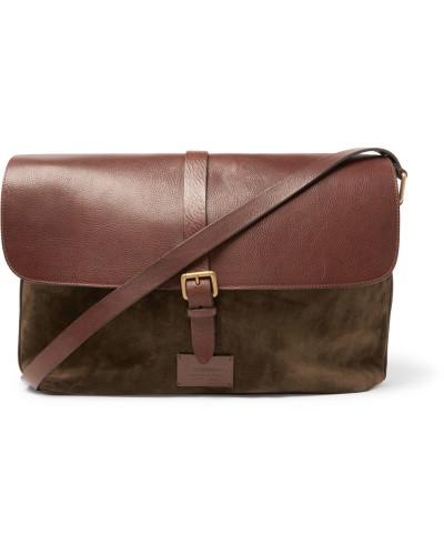 Anderson's Herren Suede And Full-grain Leather Messenger Bag