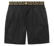 Long-length Wide-leg Swim Shorts - Black