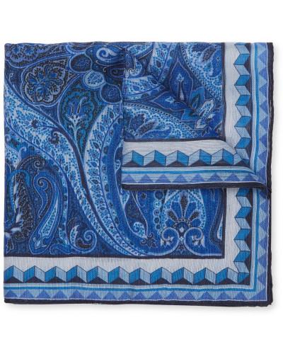 Paisley-print Linen And Silk-blend Pocket Square - Blue