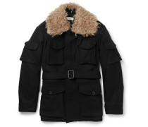Faux Shearling-trimmed Wool Coat