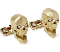 Skull 18-Karat Gold and Diamond Cufflinks