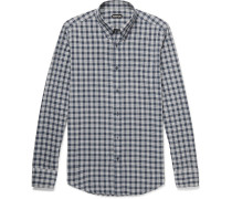 Rady Slim-fit Button-down Collar Checked Cotton-voile Shirt