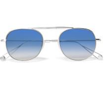 Van Buren 49 Folding Aviator-style Silver-tone Sunglasses
