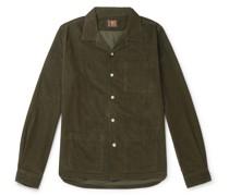 Camp-Collar Garment-Dyed Cotton-Corduroy Overshirt