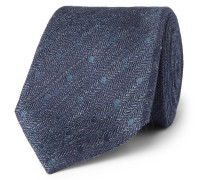 8cm Embroidered Herringbone Linen And Silk-blend Tie