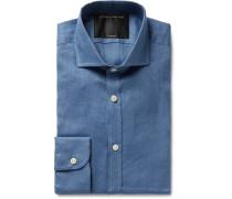 Slim-Fit Cutaway-Collar Slub Linen Shirt