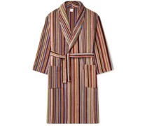 Striped Cotton-Terry Hooded Robe