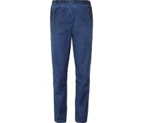 Slim-fit Garment-dyed Cotton Trousers